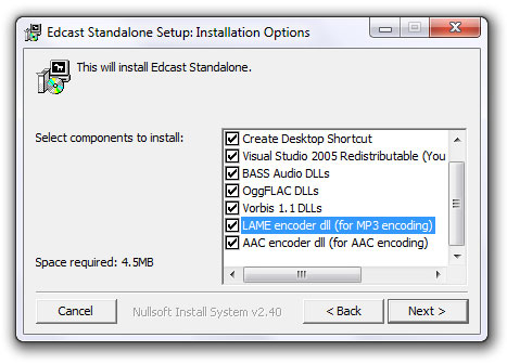 Edcast - Installation, Options