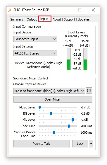 Shoutcast source - Input, Soundcard Input